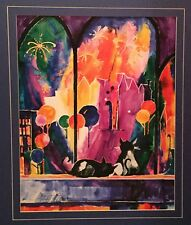 "Signed lithograph by Roungsri Taw Raisanen.  ""Meow Meow Night Out"". 139/150. BIG"