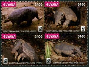 GUYANA - 2017 WWF 'GIANT ARMADILLO' Block of 4 MNH [B4246]