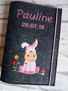 3 in 1 U Heft Hülle ❤ Untersuchungsheft Filz ❤ Esel rosa ❤ personalisiert