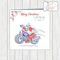 Motorbike Motorcycle Biker Christmas Card Funny Santa With Long Beard