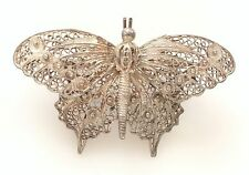 Vintage Spanish 915 Silver Butterfly Filigree Brooch Pin Spain