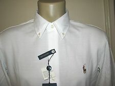 $98. (S) POLO-RALPH LAUREN White Knit Pique Oxford Shirt (Slim Fit)