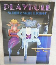 Schlitz Malt Liquor / Vintage 1983 Playbull Orig Promotional Poster Man Cave Art