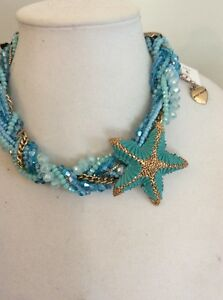 Betsey Johnson Into The Blue Starfish Bead Braided Collar Necklace $195 BE17
