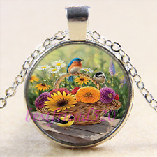 Bird & Flower Photo Cabochon Glass Tibet Silver Chain Pendant Necklace