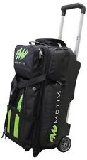 Motiv 3 Ball Deluxe Roller Bowling Bag with 5 Inch Urethane Wheels Black/Green