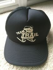VINTAGE 1980s TEAM TRAIL SNOWMOBILE SNAPBACK MESH TRUCKER CAP HAT vtg black