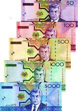 SET Turkmenistan, 50;100;500;1000;5000 Manat, 2005, P-17-18-19-20-21, UNC