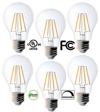 6 Pack Bioluz LED Dimmable Filament A19 4.5w Soft White 2700K Edison Light Bulbs