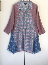 Womens Jump Paisley Contrast Prints Asymmetric Hem Collared Shirt Dress Size 10