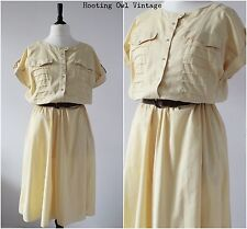 Vintage 1980s Batwing Dress Yellow Casual Summer RETRO Slouchy Midi Dress 16
