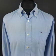 Tommy Hilfiger Mens Oxford Shirt LARGE Long Sleeve Blue Regular Fit Cotton