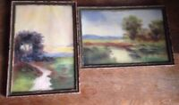 Antique Pastel Painting Pair of Landscapes Helen Chiles Art Deco Framed