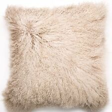 a05c595e00 Mongolian Curly DOUBLE SIDED Lamb Real Fur Pillow w Insert - Champagne -  20x20