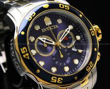 NEW Invicta Men'sPro Diver Scuba 48MM 2 Tone Blue Dial Chrono S.S Bracelet Watch