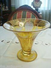 ANTIQUE MOSER/BOHEMIAN YELLOW CUT-TO-CLEAR ART GLASS CENTERPIECE PEDESTAL BOWL[7
