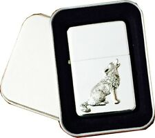 Star Petrol Lighter With Antique Pewter WOLF Lighter Emblem In a Metal Gift Tin