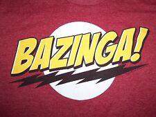 "The Big Bang Theory TV Show ""Bazinga!"" Sheldon Maroon Graphic 50/50 T Shirt - M"