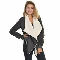 NEW Angelina Womens Sherpa Lined Cardigan Charcoal Size 3X