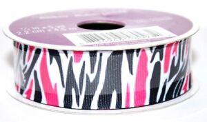 """Celebrate It Ribbon 360 Pink Black White Stripes Grosgrain 7/8"""" x 5 yd NIP!"""