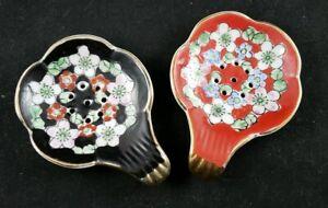Vintage Ceramic Tea Bag Strainers - Black and Red - Japan - Set of 2