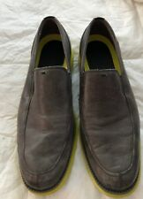 MENS COLE HAAN SLIP ON LEATHER SHOES,gray with yellow soles  SZ 10.5m