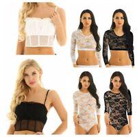 Women Lace Crop Tank T Shirts Fashion Ladies Summer Casual Blouse Bodysuit Tops