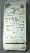 1 - JM JOHNSON MATTHEY Vintage 10 Troy Silver ounces Bar .999 VERY RARE!