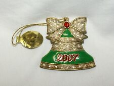"New ListingDanbury Mint ""Christmas Crystals"" Bell Ornament 2007 Enameled Jewels with Bow"