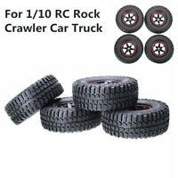 4Pcs 100mm Rubber Tires&Wheels 12mm Hex For 1/10 RC Rock Crawler Car Truck