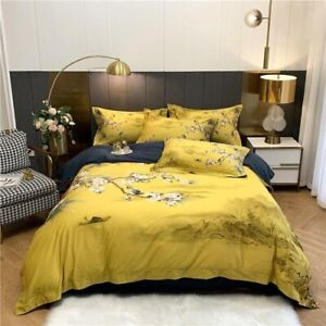 Vintage Flowers Birds Duvet Cover Bed Sheet Egyptian Cotton Bedding Set 4Pcs