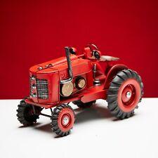 Tractor Red Classic Vintage Collectible Handmade Metal Tin Model for Decor