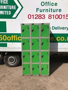 JOB LOT 3 x Used Probe 4 Door Flat Top Staff Lockers Grey/Green £120+VAT Grade B