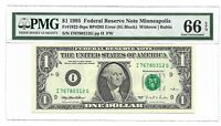 BP ERROR # 295, 1995 $1 MINNEAPOLIS FRN PMG GEM UNCIRCULATED 66 EPQ BANKNOTE I/G