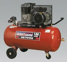 Sealey Compressor 100ltr Belt Drive 3hp With Cast Cylinders and Wheels SAC1103B