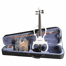 4/4 White Electric Violin style VE008B FOAMED CASE BOW HEADPHONE ROSIN