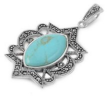 Silver Pendant with Marcasite pendant Height 45 mm Stone Turquoise fashion 925