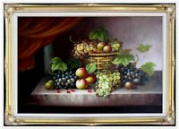 Framed, Still Life with Basket of Fruits,  Hand Painted Oil Painting 24x36in