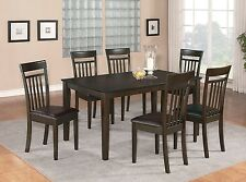 7PC SET DINETTE KITCHEN DINING TABLE w/ 6 FAUX LEATHER SEAT CHAIRS IN CAPPUCCINO