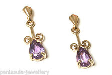 9ct Gold Amethyst Drop Dangly Earrings Gift Boxed Made in UK