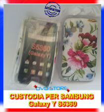 Custodia back cover case 2 FIORI ROSA BLU per Samsung Galaxy Y S5360