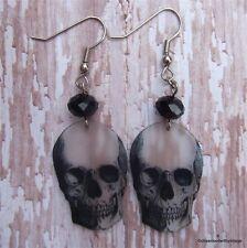 Halloween black skull skeleton charm dangle earrings