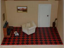 100 RED & BLACK Miniature Vinyl Dolls House Floor Tiles