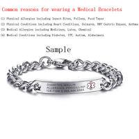 Free Engraving Emergency Medical Alert ID Bracelet Custom Stainless Steel Gifts
