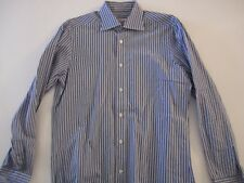 KITON NAPOLI Blue & Blue Stripe Handmade Dress Shirt Italy 16 EU 41 AMAZING