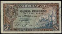 Billete de España 5 pesetas 1940 A3935833  Madrid 4 de septiembre