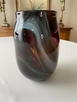 Beautiful Vintage Art Glass Vase Purple Amethyst with Blue Swirls 8 1/4""