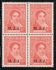 "ARGENTINA 1938/9 OFFICIAL STAMP # 305 MNH ""M.J.I."" BLOCK OF FOUR"