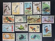 """British Colonies: Lot of 16 Diff. """"Birds"""" Used/Mint. Lot #052801"""