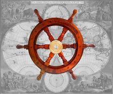 Hochwertiges Steuerrad, Schiffssteuerrad aus Hartholz, 32,7cm Durchmesser